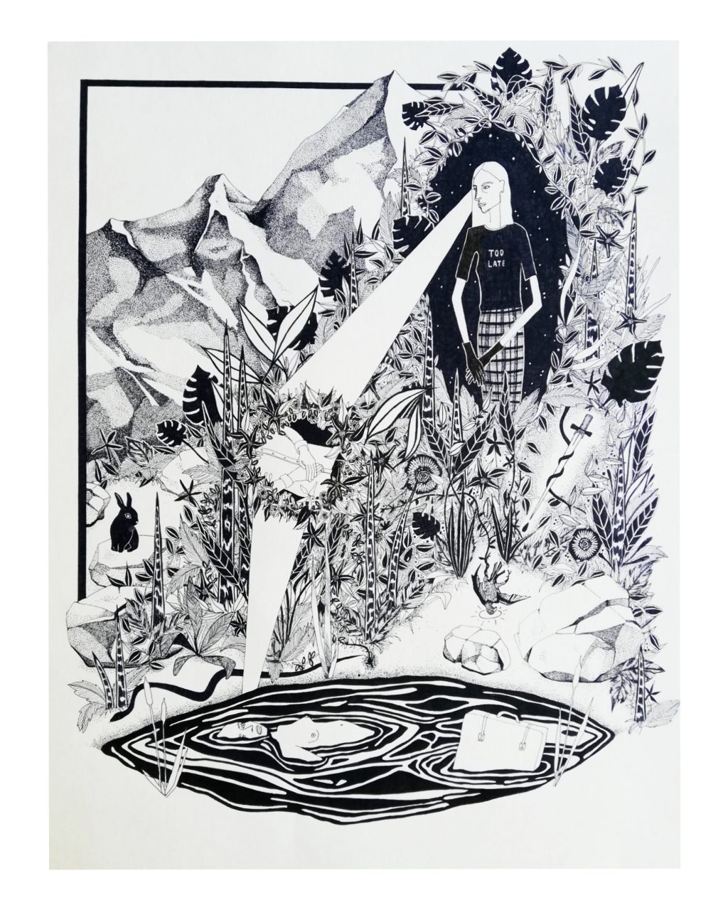 THE VISION, 49 x 61 cm, fineliner on paper, 2018.