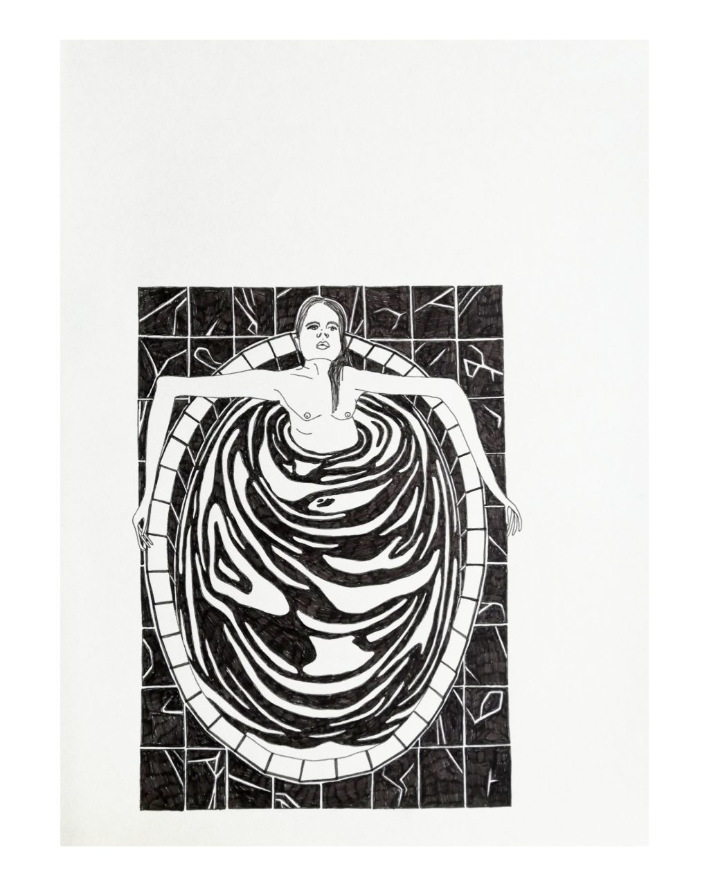 THE BATH 28 x 36 cm, fineliner on paper, 2017.