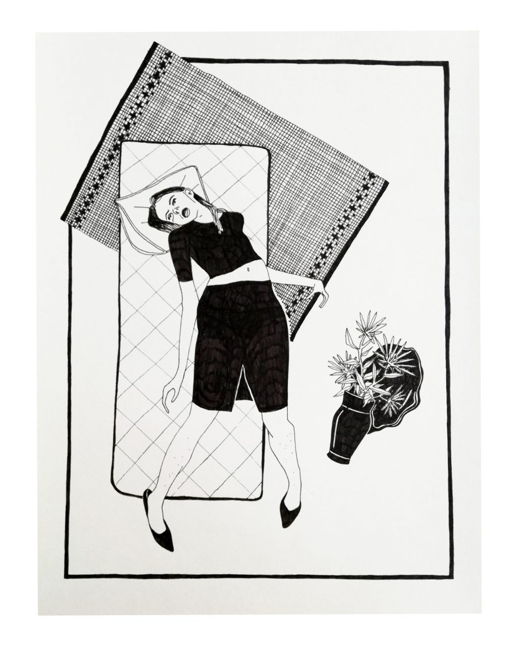 THE BED 28 x 36 cm, fineliner on paper, 2017.