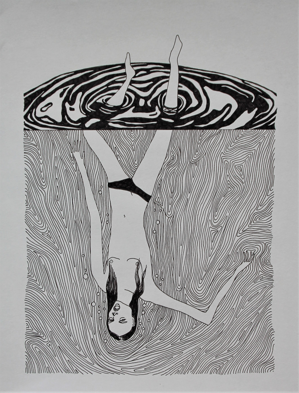The Drowning 28 x 36 cm, fineliner on paper, 2017.