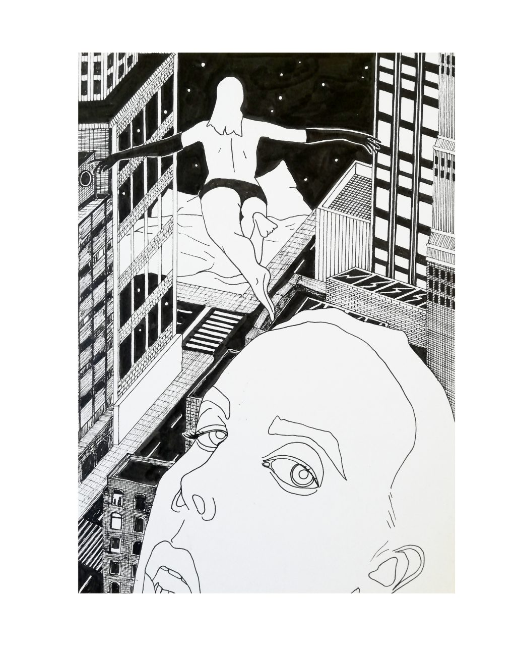 A SWEET, SANE LIFE, 17 x 25, fineliner on paper, 2020.