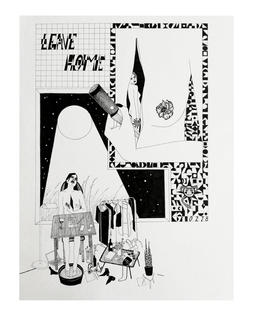 LEAVE HOME, 49 x 61 cm, fineliner  on paper, 2020.